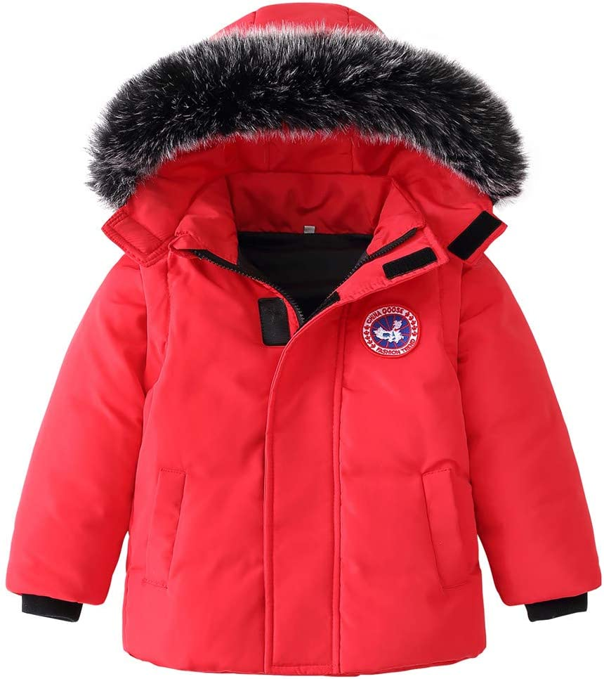 Kids Puffer Jackets Winter Hooded Down Coats with Removable Sleeves Boys Girls 2 in 1 Snow Down Gilet Thicken Padded Jacket Red 1-2 Years