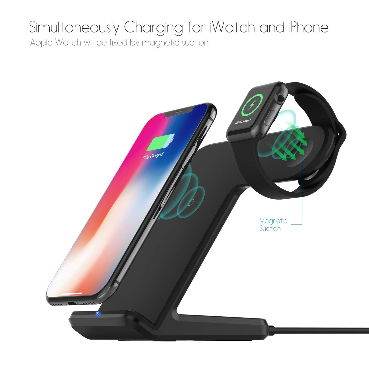 Wireless Charger,MQOUNY 2 in1 in 1 Wireless Charger Stand,Charging Station Compatible with iWatch Series 4/3/2/1,Fast Wireless Charger Compatible with ...
