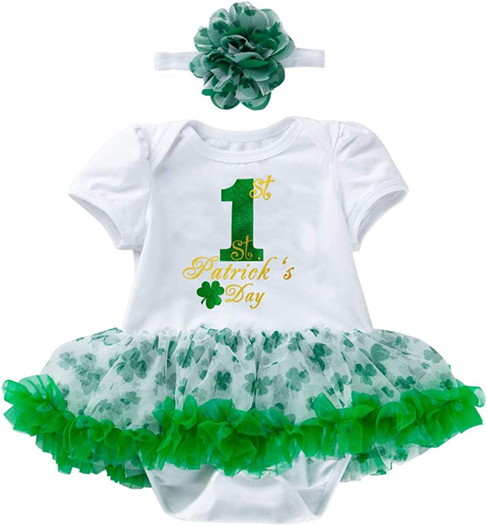 Patricks Day Romper Dress Outfit Funiup Newborn Baby Girl Short Sleeve Bodysuit Headband 2pcs Suit My 1st St