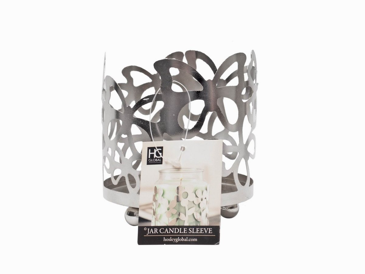 Hosley's 4.5 High Metal Silver Finish Butterfly Jar Candle Sleeve/LED Lantern. Ideal GIFT for Weddings, Special Occasions, Party, Spa, Reiki, Meditation W9 HG Global FBA_FBAC-H65315WZ-1-EA