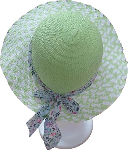 Bon Bonito Kids Wide Brim Straw Beach Sun hat Cap with Floral Ribbon Bow  (One 71195c20bc0a