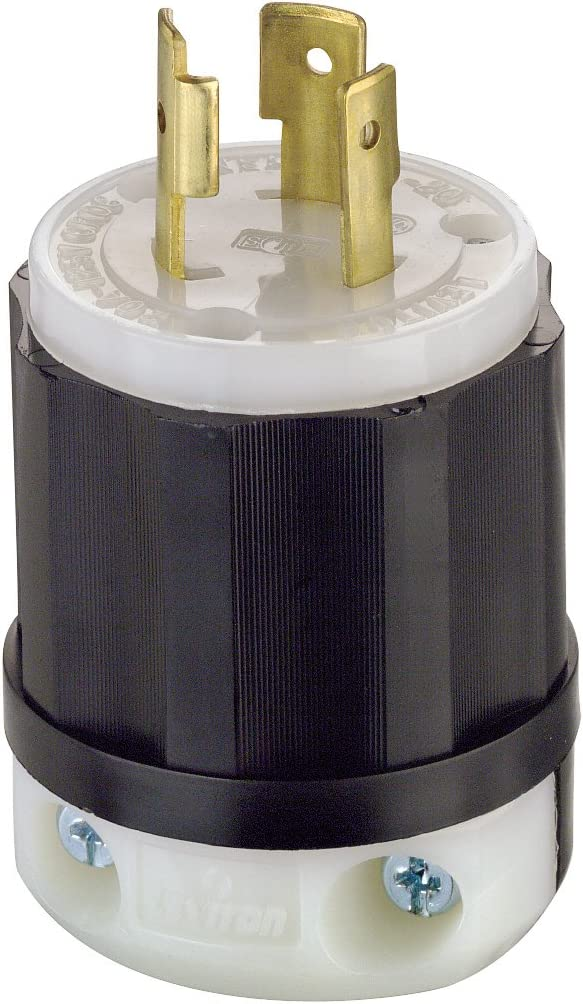 Leviton 2311 20 Amp, 125 Volt, NEMA L5-20P, 2P, 3W, Locking Plug, Industrial Grade, Grounding - Black-White