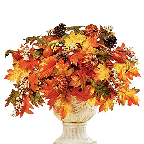 Collections Etc Faux Fall Leaves with Gourds, Berries and Pinecones Floral Arrangement Display, Indoor and Outdoor Autumn - Floral Decor Arrangement