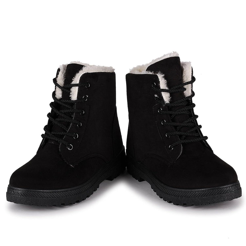 Amazon.com | Susanny Suede Flat Platform Sneaker Shoes Plus Velvet Winter  Women's Lace Up Cotton Snow Boots | Snow Boots