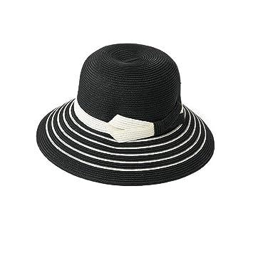 82e79f58d6e91 Sunny HONEY Klassischer Einfacher Strohhut Streifen Frauen-Masken-Hut  Holiday Beach (Farbe   Schwarz)  Amazon.de  Garten