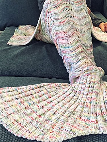 KAZOKU Crochet Mermaid Tail Blanket for Adult, 74-Inch-by-35-Inch, White