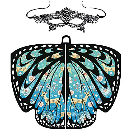 ASfairy Butterfly Wings Shawl Scarves, Women Cape Scarf Fairy Poncho Wrap Pixie Poncho Halloween Costume Accessory -