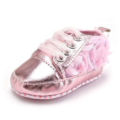 Anqeeso - Zapatillas de bebé para primeros paseos, color rosa con lazo de flor de