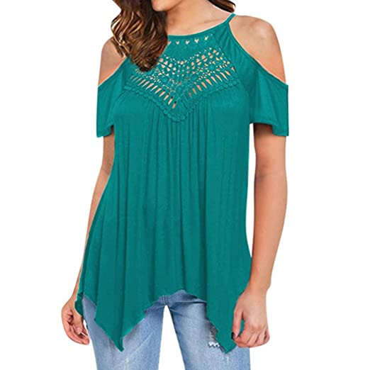 Gillberry Peplum Tops for Women Casual Tops Lace Off Shoulder Blouse Peasant Shirt (Green,