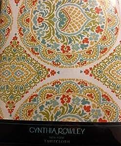 Amazon Com Cynthia Rowley Cotton Tablecloth 60 Quot X 102 Quot Oblong Multi Color Medallion Paisley