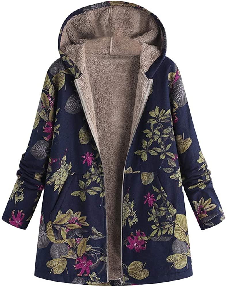 Womens Winter Warm Outwear Floral Print Hooded Pockets Vintage Oversize Hoodie Coats Zip Up Jacket