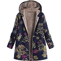 Ansenesna Womens Winter Warm vêtements Florales imprimées à Capuche Vintage Man-teaux Oversize