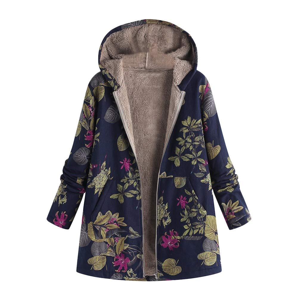 Pandaie Women Winter Warm Jacket Hooded Zip Plush Vintage Fleece Jacket Flowers Print Plus Size Winter Coats Navy by Pandaie