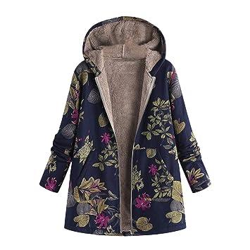LILICAT® Womens Winter Warm Outwear con Estampado Floral Bolsillos ...