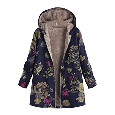 61166dc0d19 JOFOW Womens Jackets Coats Fleece Lined Boho Flowers Leaves Floral Print  Hooded Warm Loose Parka Winter