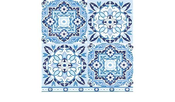 4 servilletas de papel para decoupage, 3 capas, 33 x 33 cm, azules: Amazon.es: Hogar