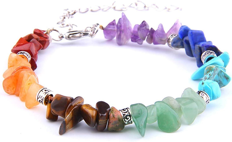 Pulsera de Cuentas Hot 7 Chakra Bracelet Men Healing Natural Stone Crystals Chips Tourmaline Strand Beads Bracelets for Women Fashion Jewelry