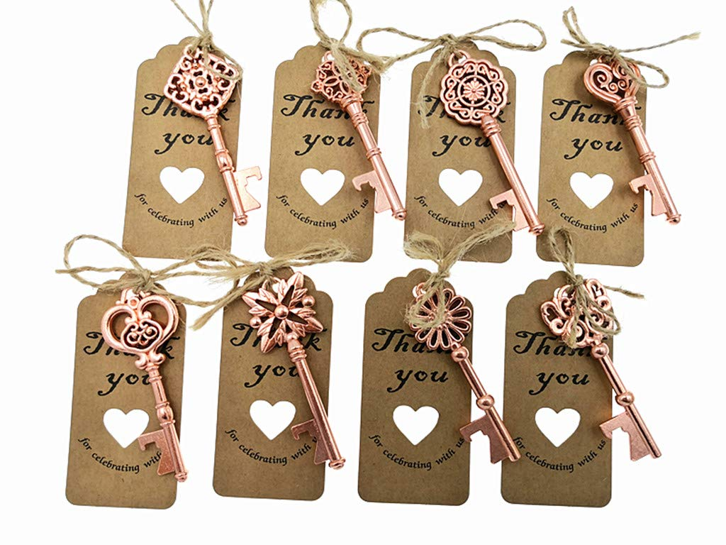 80pcs Skeleton Key Bottle Opener Wedding Party Favor Souvenir Gift with Escort Tag and Jute Rope(Rose Gold Tone,8 styles)