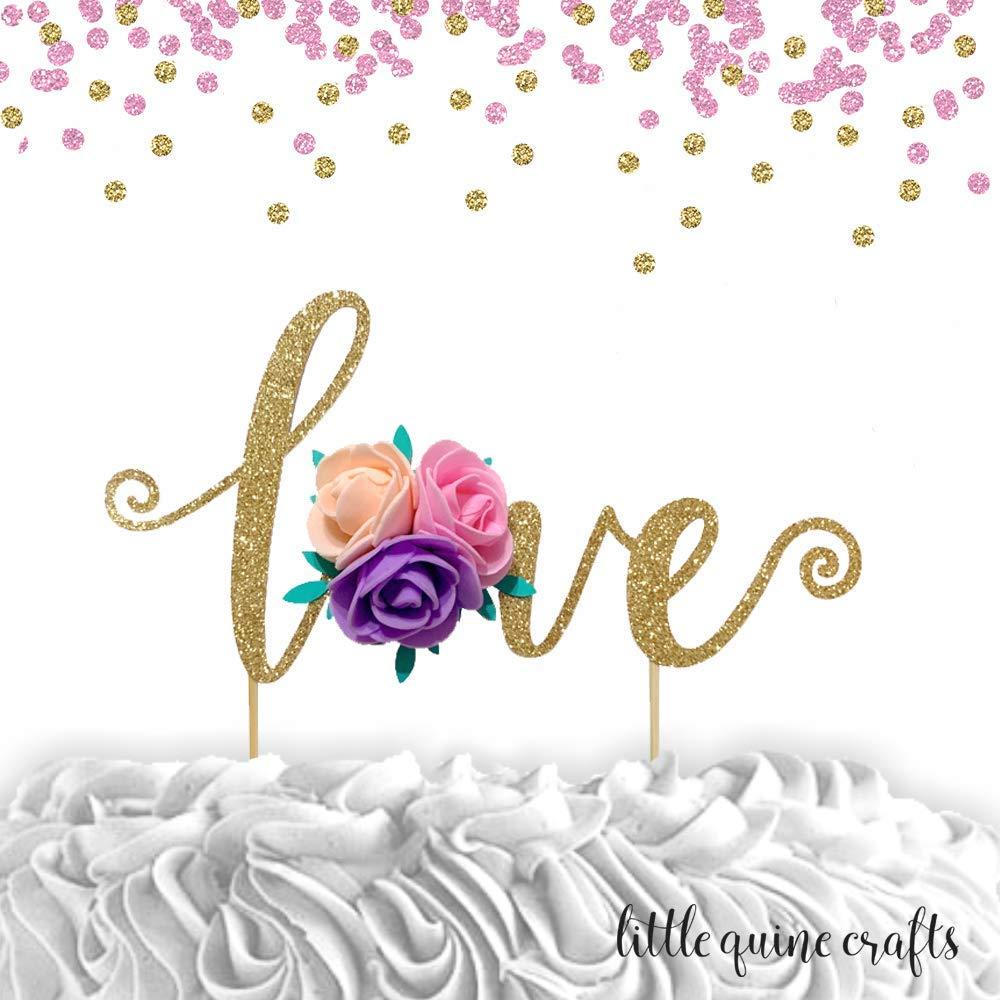 1 pc love floral flower roses bohemian boho fiesta Gold Glitter cake topper for wedding anniversary cake spring summer bridal shower