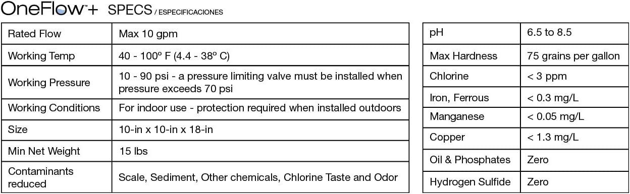 Watts Premier OneFlow Water Conditioner - Specs