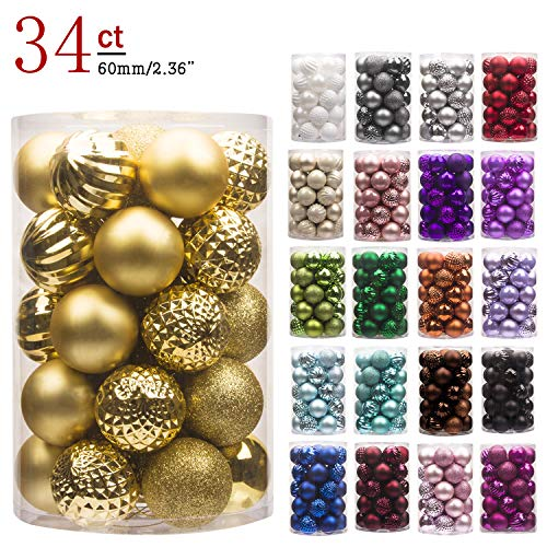 "KI Store 34ct Christmas Ball Ornaments Shatterproof Christmas Decorations Tree Balls for Holiday Wedding Party Decoration, Tree Ornaments Hooks Included 2.36"" (60mm Gold) ()"