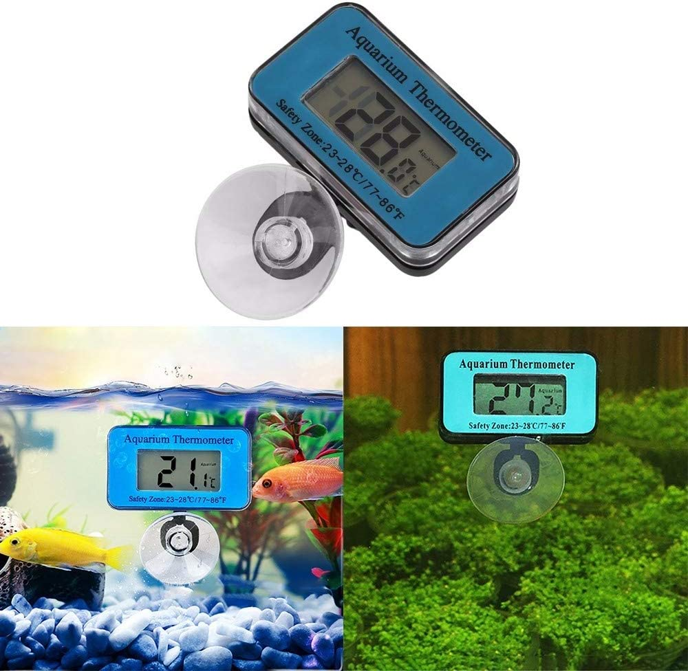 MiOYOOW Aquarium Thermometer Fish Tank Thermometer with Suction Cup LCD Display Waterproof Digital Water Thermometer for Fish Tank Marine Reptiles