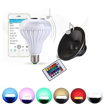 Hinmay E27 - Bombilla LED de música con altavoz Bluetooth RGB para cambiar de color,
