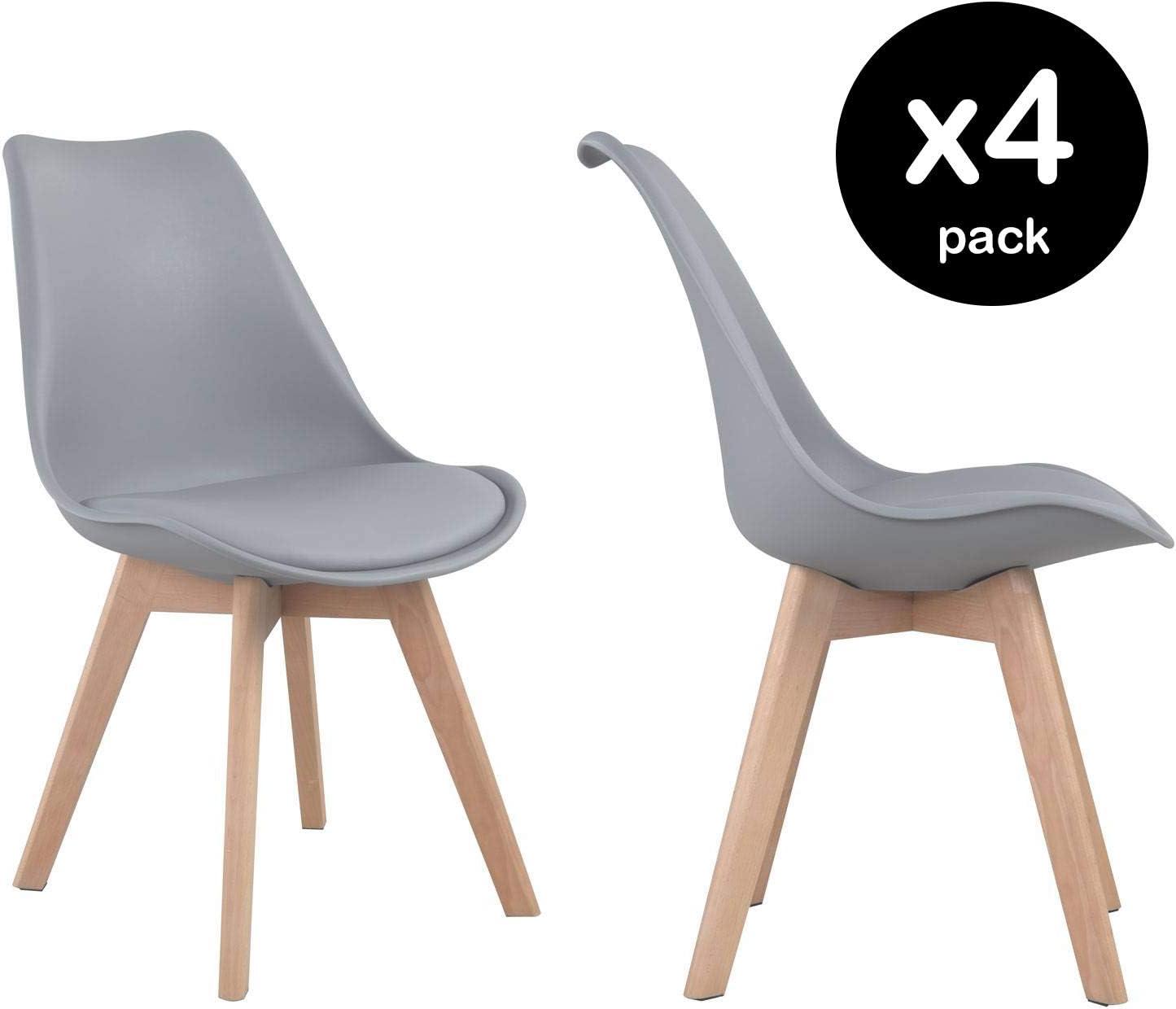 Beneffito Conjunto de 4 sillas escandinavas Gris con Cojines de Asiento y Patas de Madera Maciza SENJA