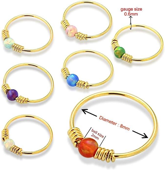 9K Solid Gelb Gold Opal Stein mit doppelten Frühling Spule 22 Gauge Hoop Nase Ring Tragus Helix Piercing