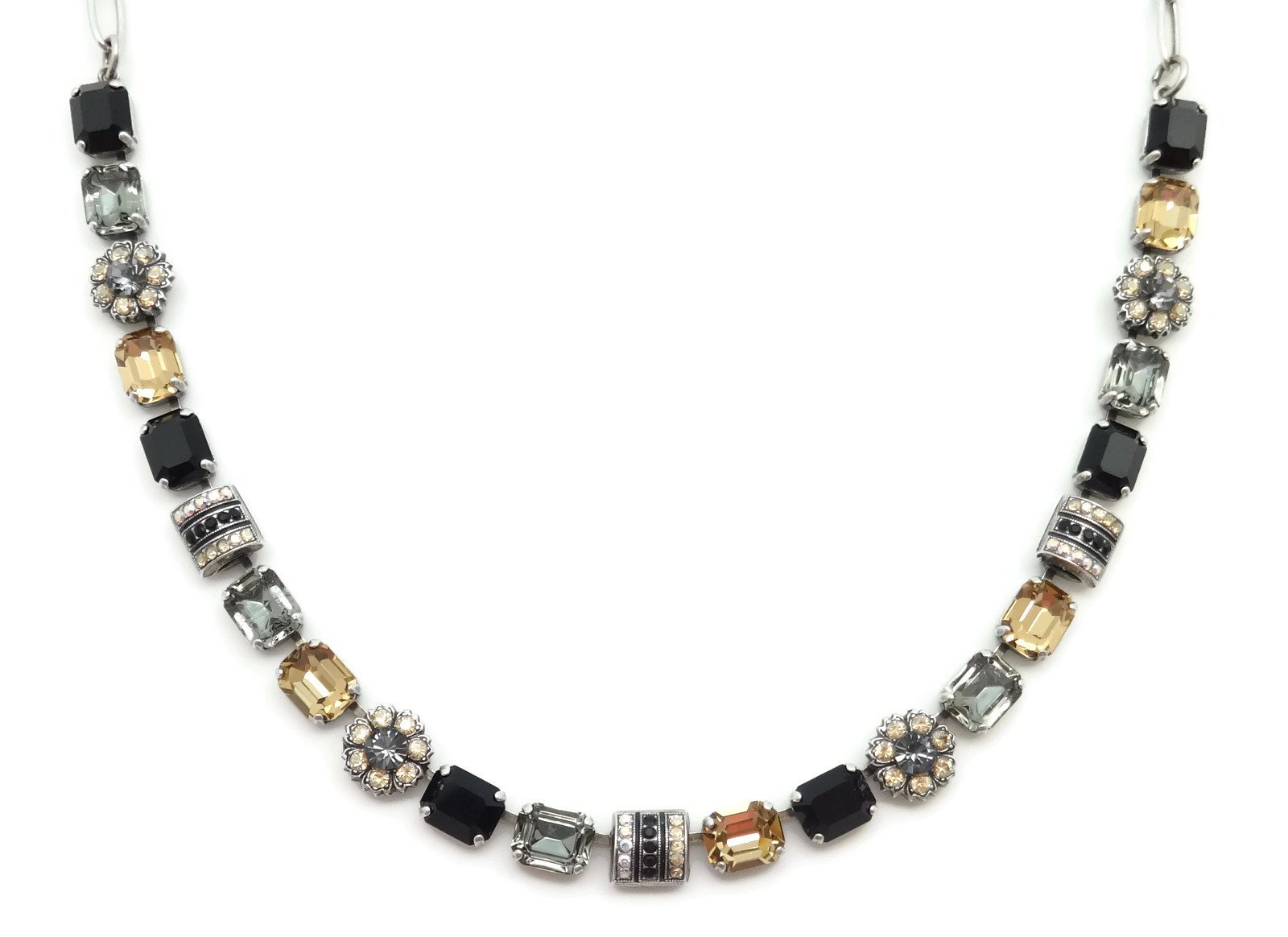 Mariana Swarovski Crystal Silver Plated Necklace Black & Brown Mix Rectangle Mosaic 1094 Odyssey Adeline