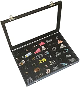 Black Velvet Jewelry Organizer Tray with Clear Lid Ring Earring Necklace Storage Box(36grids)