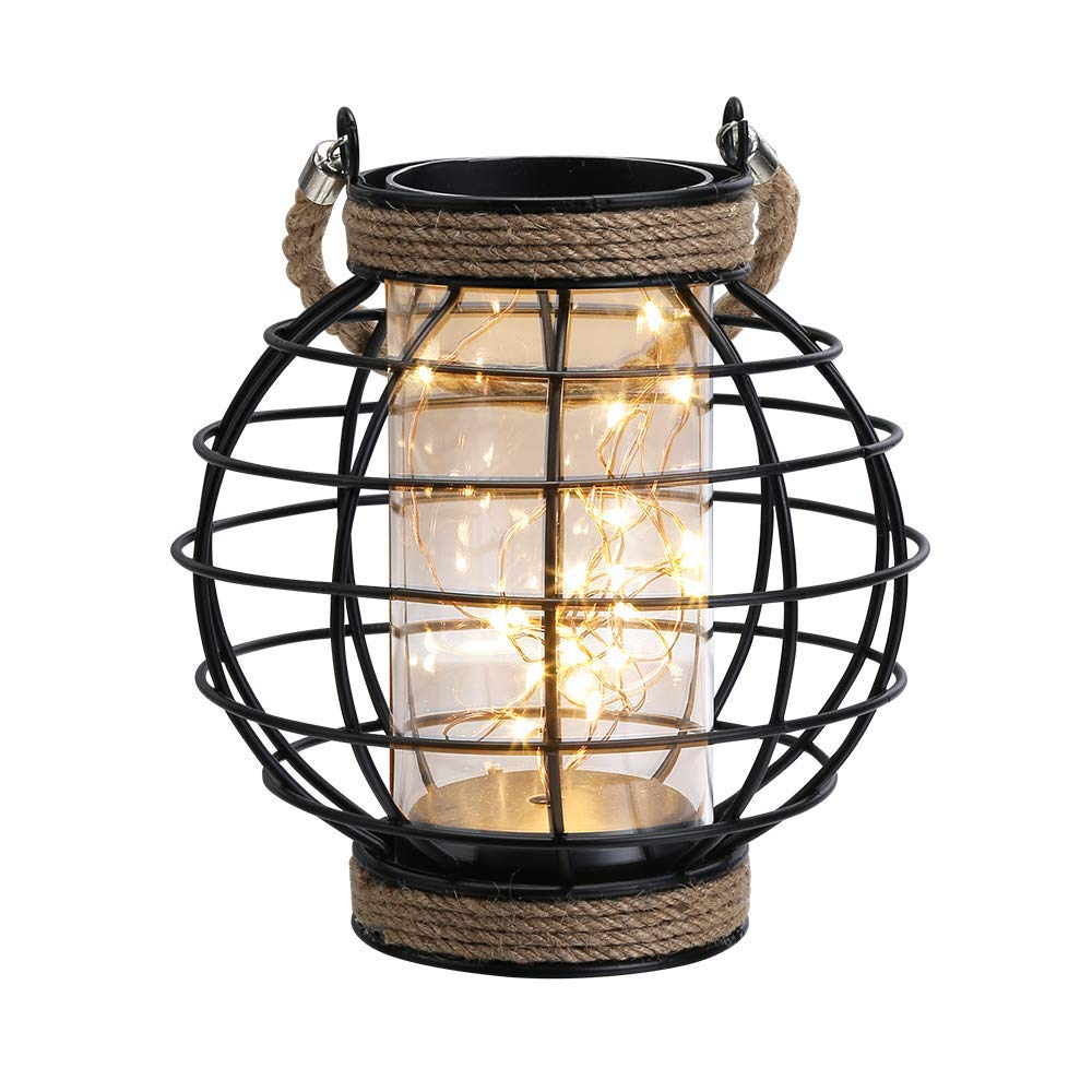 JHY DESIGN 18.5cm High Metal Cage Table Lamp Battery Powered Vintage Wireless Lamp Accent Light with 20pcs Fairy Lights for Garden Weddings Parties Patio Indoors Outside