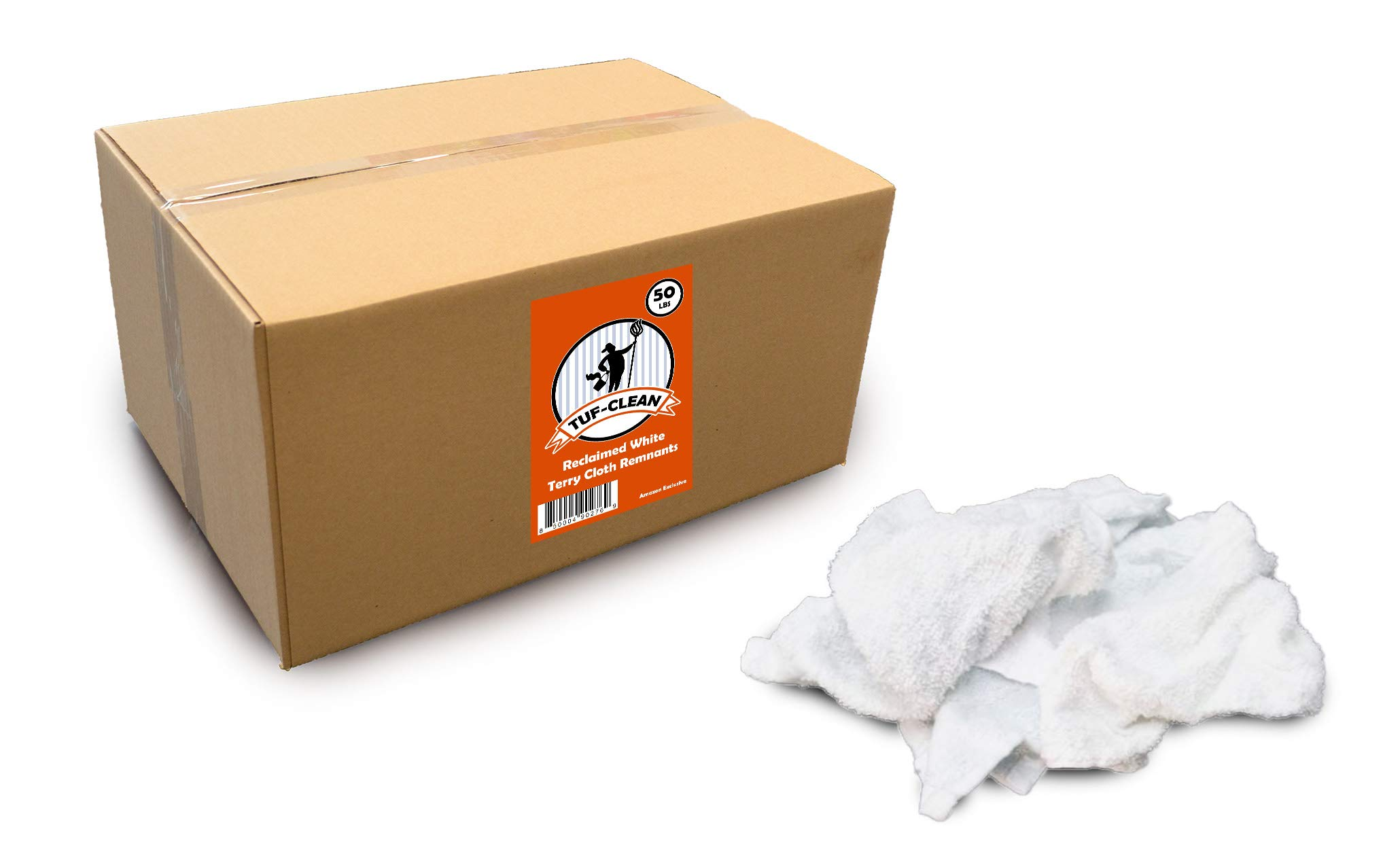Tuf-Clean 99202 Terry Cloth Remnants/Rags, 100% Cotton, White, 50 lb Box