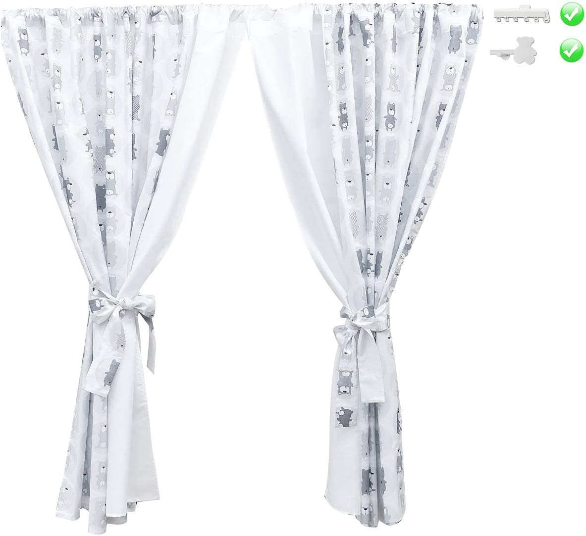 Made in EU - 100/% Luxury Cotton Vizaro 155x155cm Curtains for Baby//Children Room Set 2X Safe for Babies