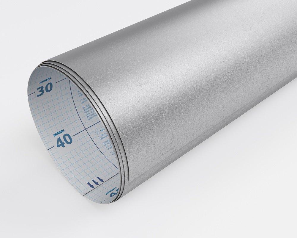 Artesive TEC-017 Acciaio Satinato Opaco larg 30 cm x 2,5 mt Pellicola Adesiva