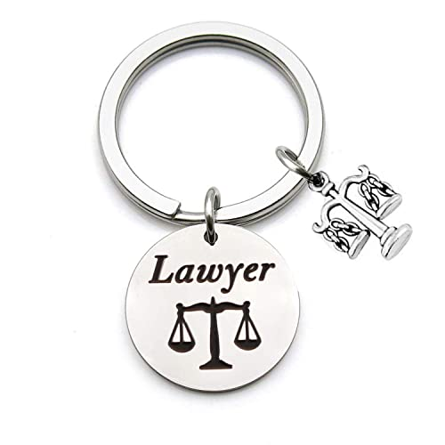 QIIER Lawyer Gifts Law School Graduation Gift Scales of Justice Lawyer Keychain Lawyer Jewelry Key Ring New Lawyer Gift Attorney Gift (Silver)