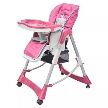 Baby High Chair Deluxe Pink Height Adjustable