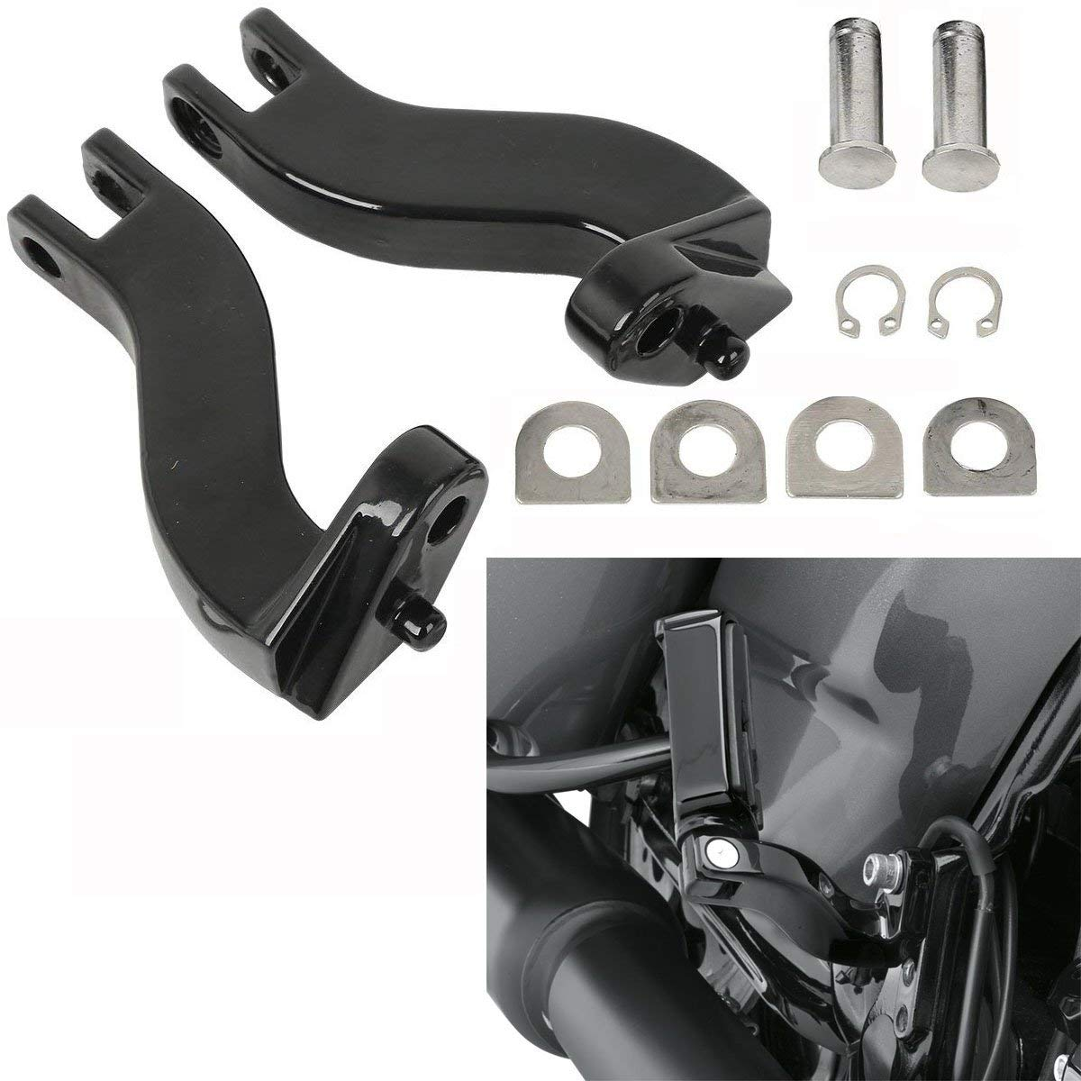 Replaces HD# 50198-97B Motorcycle 10mm Rear Foot Peg Mount Kits Compatible with Harley Touring Road Electra Street Glide Road King 1993-2018