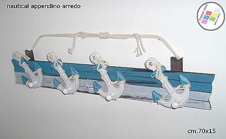 Perchero Náutico Muebles Madera Vintage Blanco Claro Azul ...