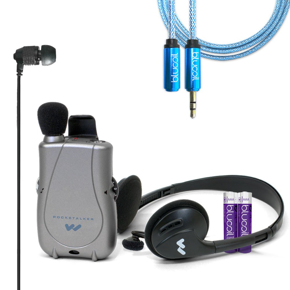 Williams Sound PKT D1 EH Pocketalker Ultra Duo Pack Amplifier PLUS Far End Gear ECV1 XDU Pathfinder Noise Isolating Earphone PLUS Blucoil 6 ft Extender and Two AAA Batteries - VALUE BUNDLE