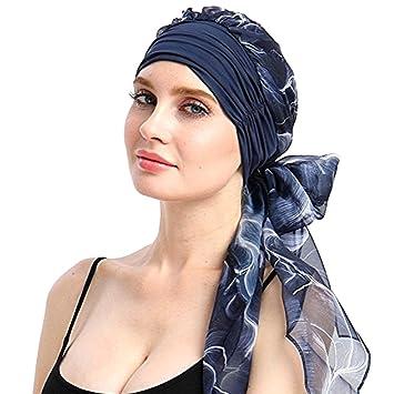 Amorar Unisex Gasa Turbante Sombrero de la Bufanda de la Cabeza Bandana algodón Impreso Turbante Bufandapara