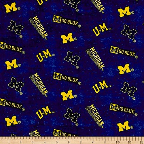 Sykel Enterprises NCAA University of Michigan Distress Logo Allover Blue/Yellow Fabric by The ()