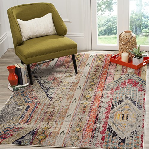 Safavieh Monaco Collection MNC222G Modern Bohemian Light Grey Distressed Area Rug (9' x 12')