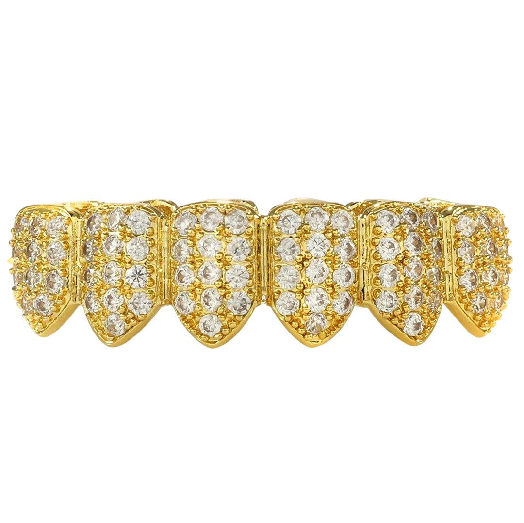 NIV'S BLING - 18K Yellow Gold-Plated Cubic Zirconia Stainless Steel Grillz Bottom