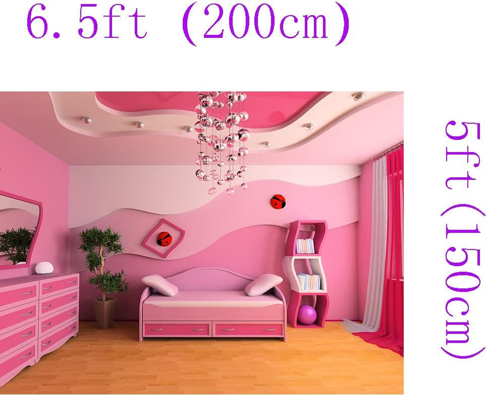 DZJYQ 6.5x5ft Gorgeous Romantic Pink Girl Princess Bedroom Chandelier Wood Floor Cabinet Mirror Daughter Children Birthday Party Wedding Portrait Backdrop Photography Background 420 2x1.5m