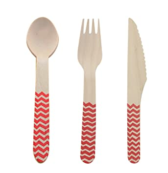 Youmewell Disposable Wooden Cutlery Wooden Knives Forks Spoons