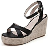 bb3a982dc7 Amazon.com   MAKEGSI Womens Jute-Rope Middle Wedge Heel Summer Shoes ...