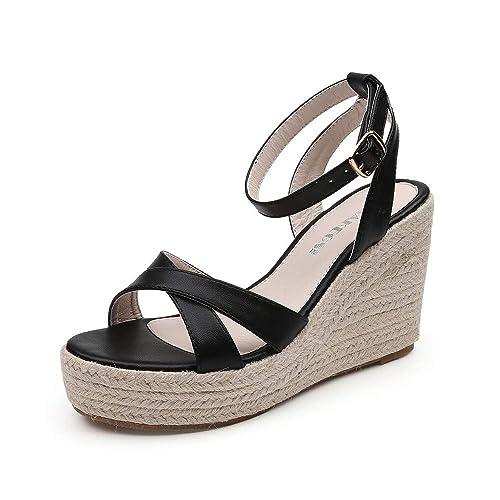 7842abeb642bb MAKEGSI Womens Wedge Jute-Rope Platform Heel Summer Shoes Flip Sandals