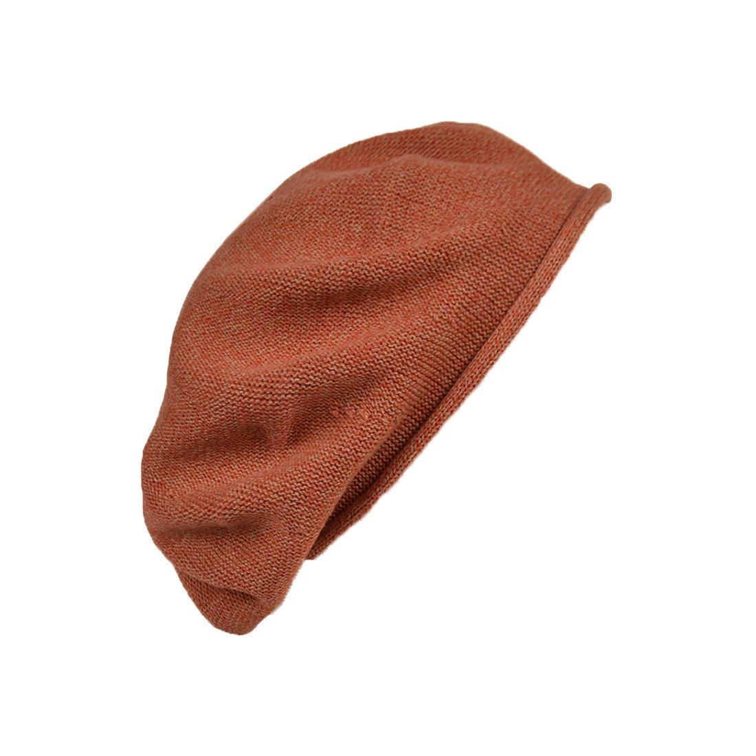 Landana Headscarves Melange Beret for Women 100% Cotton Solid - Orange