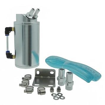 heinmo Universal Cilíndrico JDM motor de aluminio depósito de aceite Catch Can tank-silver: Amazon.es: Coche y moto